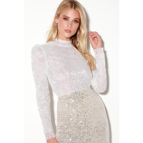 5e747a702d13 Lulu's Tops | White Sequin Mock Neck Long Sleeve Top | Poshmark